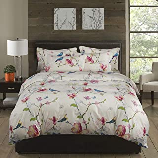 ELE Home Textile 3 Pieces Duvet Cover Set, 100% Cotton Bedding, Birds and Flowers Pattern Printed, with Zipper Closure (Birds and Flowers, King Size(Duvet Cover 90
