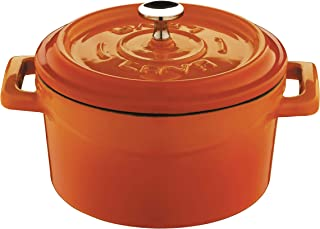 Enameled Cast Iron Mini Round Cookware Casserole Dish with Handles - 11.75 oz - Orange - Pre-Seasoned – Oven Safe Up to 70...