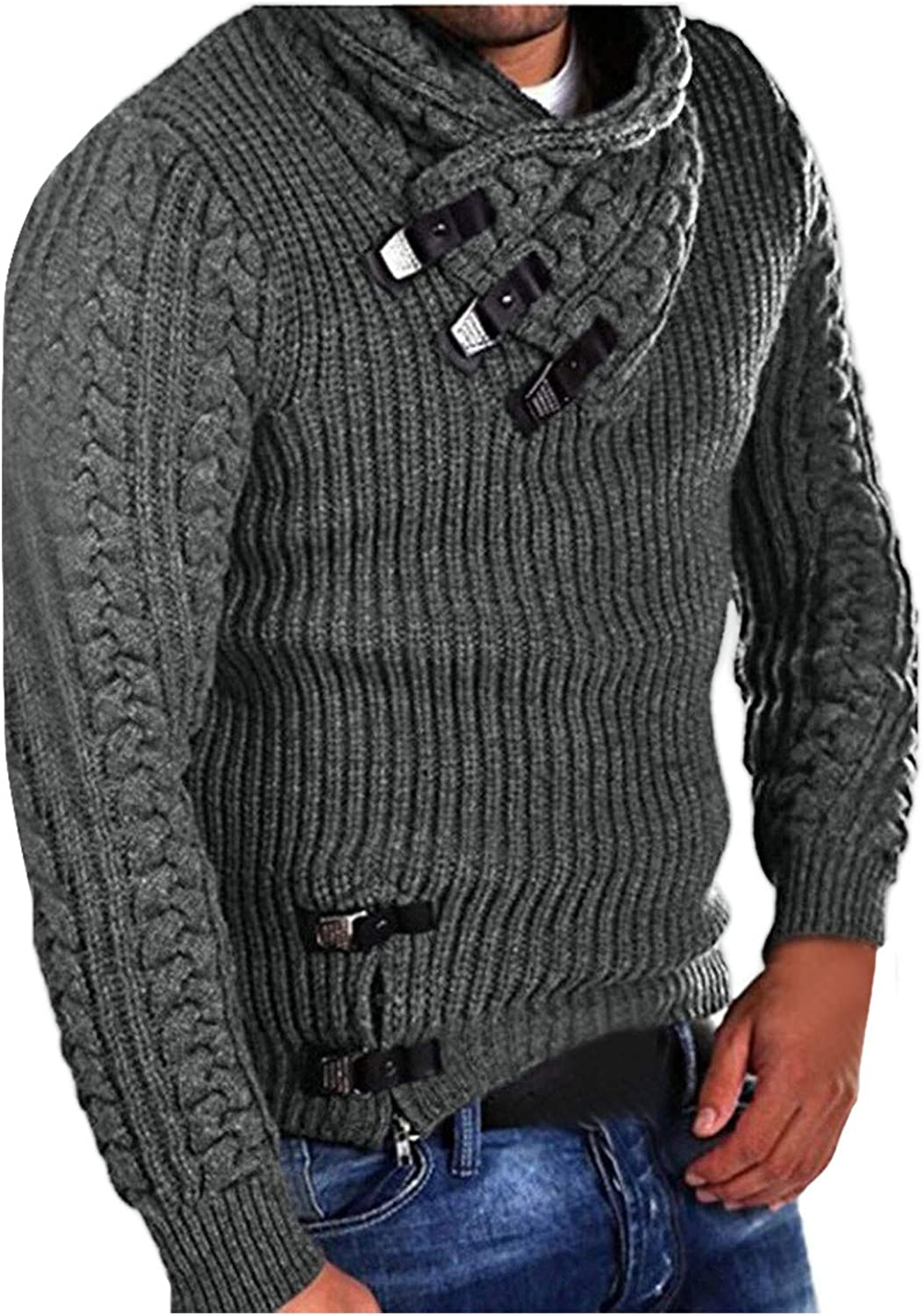 UBST Knitted Sweaters for Mens, Fall Winter Cowl Neck Pullover Horn Button Turtleneck Cardigan Casual Warm Jumper