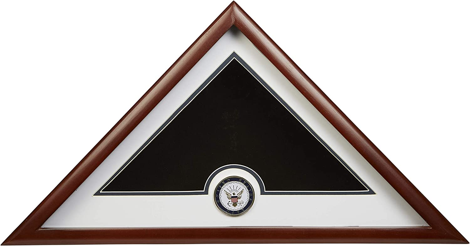 Allied Frame US Navy Internment American Burial Flag Display Case with Official Navy Medallion