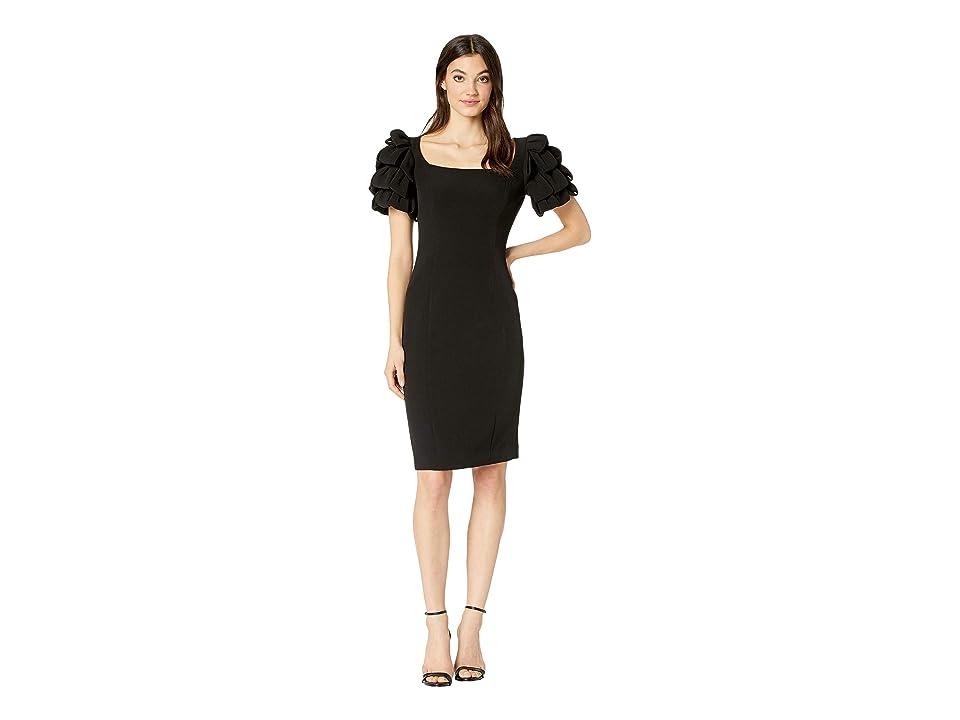 Badgley Mischka Shoulder Loop Cocktail Dress (Black) Women