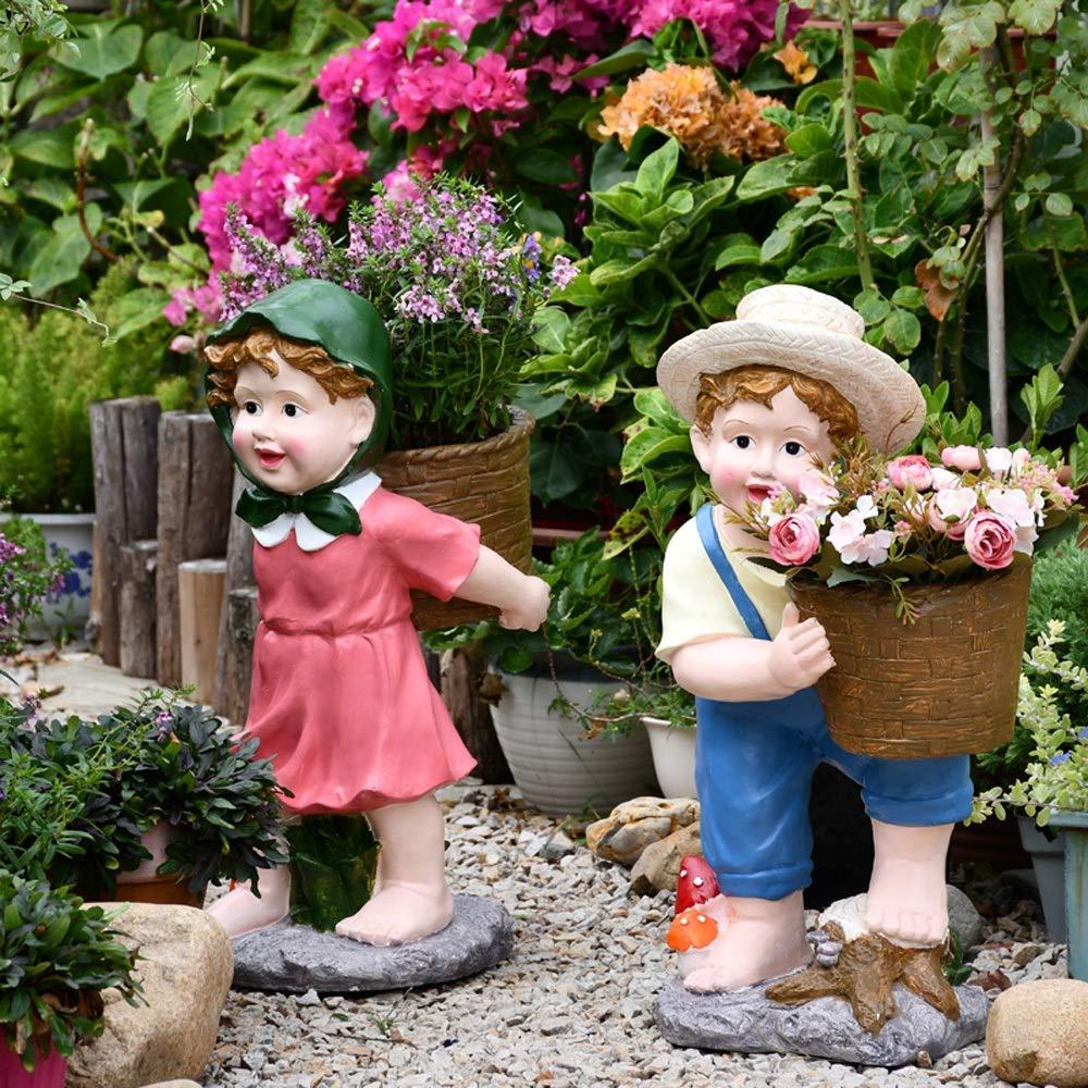 Lisansang Estatua del Jardín Escultura Linda Muchacho y Muchacha Tiesto magnesio Óxido Plantas suculentas Verdes decoración del jardín Pot La Decoración del Jardín (Color : Pink, Size : L): Amazon.es: Hogar