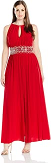 RM Richards Women's Plus Size Beaded Waist Halter Evening Gown