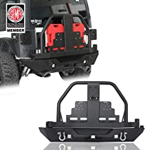 u-Box Jeep Wrangler Rear Bumper w/Spare Tire Carrier & Oil Drum Rack Bar & Receiver Hitches for Jeep JK & Wrangler Unlimited 2007-2018