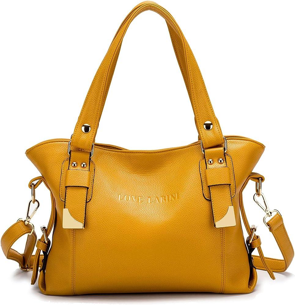 Love labini®, borsa per donna, a mano/tracolla, in pelle composita, gialla