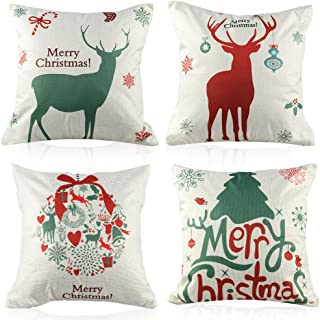 Coogam Christmas Pillow Case Set of 4 Cotton Linen Burlap Square Throw Pillow Cover Protector for Sofa Bench Couch Car Seat Bed Pillowcase Holiday Merry Xmas Decoration 16x16 17X17 18x18 inch (45cm)