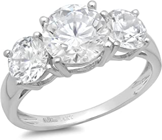 3.25CT Round Cut Simulated Diamond CZ Solitaire 3-Stone Engagement Wedding Band Ring 14K White Gold