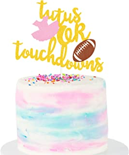 Tutus or Touchdowns Cake Topper Gold Glitter Gender Reveal Cake Topper Football Tutus Theme Gender Reveal Party Supplies Baby Shower Party Decoration