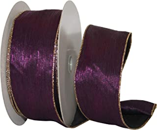 Reliant Ribbon 99914W-064-40K Crinkle Satin Value Wired Edge Ribbon, 2-1/2 Inch X 50 Yards, Purple