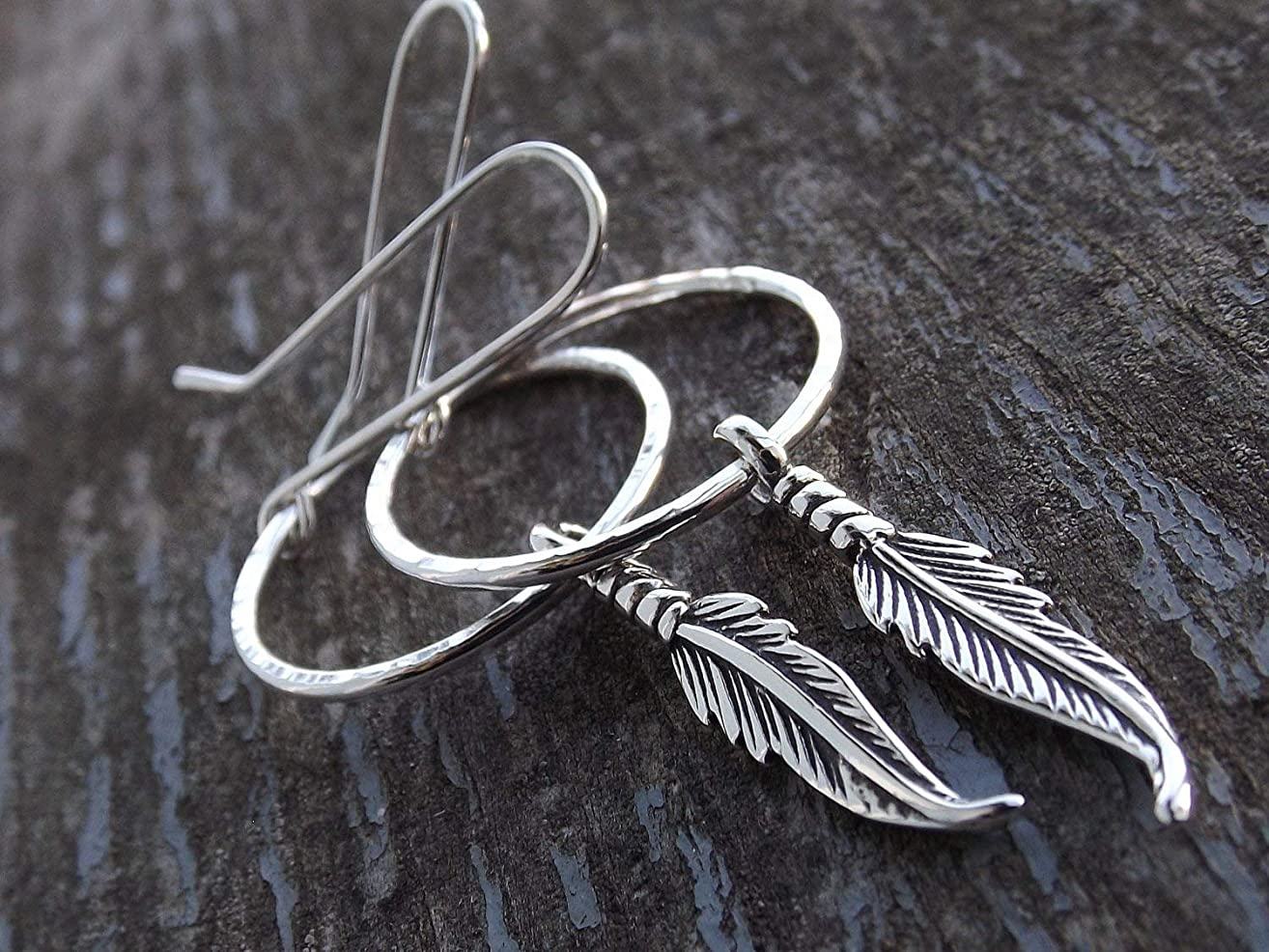 Feather Earrings, Hoop Earrigs, Long Boho Earrings, Silver Feather Earrings, Boho Earrings, Modern, Minimalist, Long Feather Hoop Earrings