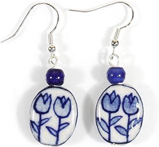 """""""Tulip Time"""" Dutch Blue Delft Porcelain Earrings"""