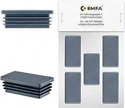 EMFA Rechthoekige stop, 100 x 20 mm, antraciet, 5 stuks, kunststof, lamellenstop, afdekkap, buisafdekking, eindkappen stop...