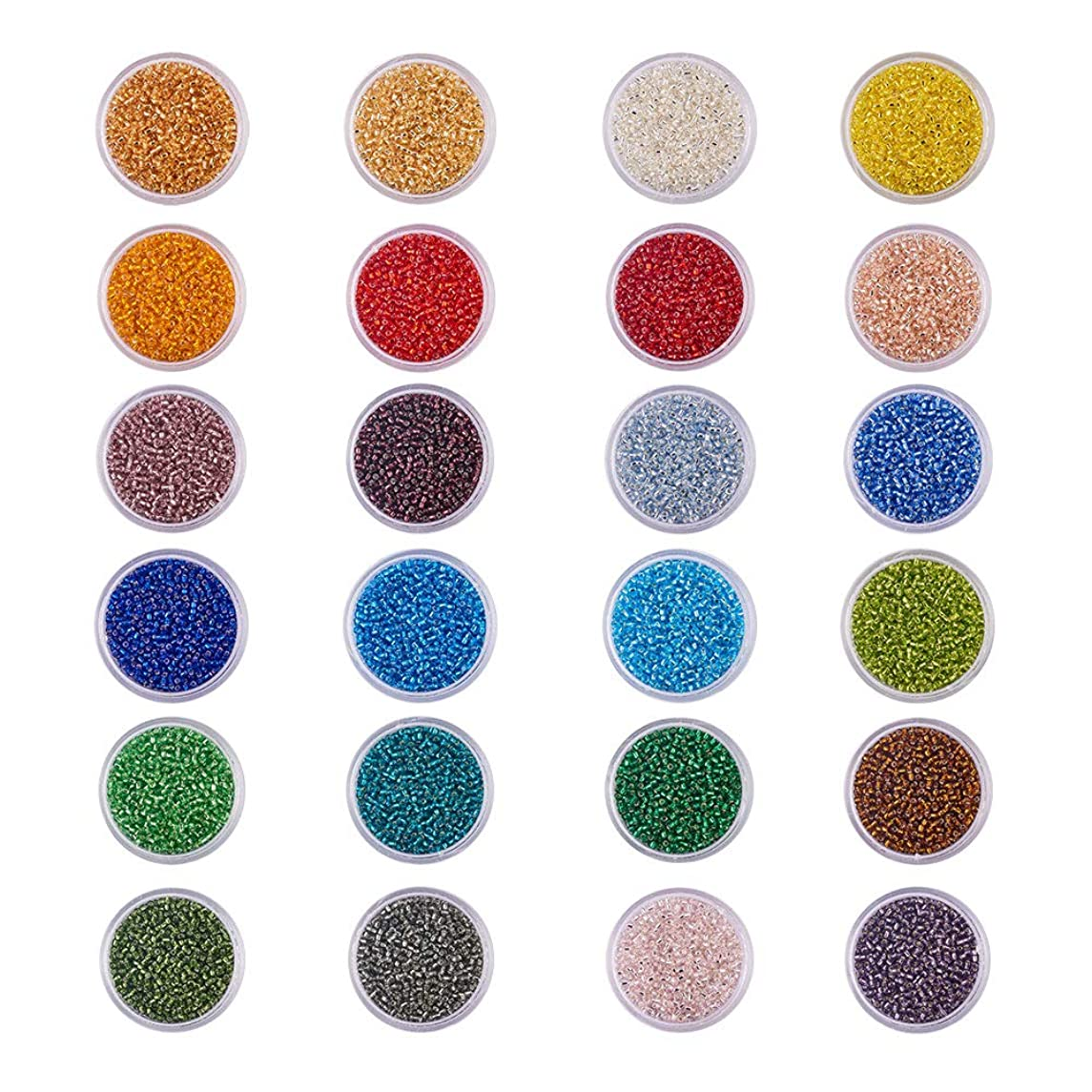 BENECREAT 36000pcs 12/0 MGB Japanese Glass Seed Beads Silver Lined Round Rocailles Seed Beads (24 Boxes 1500pcs/box Approx 36000pcs)
