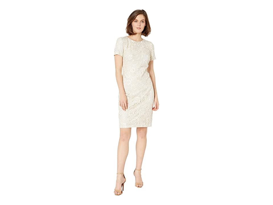 LAUREN Ralph Lauren 159B Ella Two-Tone Lace Kylie Short Sleeve Day Dress (Mascarpone Cream/Porcelain) Women