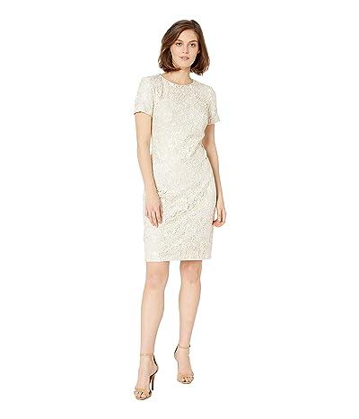 LAUREN Ralph Lauren 159B Ella Two-Tone Lace Kylie Short Sleeve Day Dress (Mascarpone Cream/Porcelain) Women