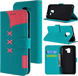 SHUHAN Mobile Phone Case for Galaxy Fabric Stitching Embroidery Horizontal Flip Leather Case With Holder & Card Slots & Wallet for Galaxy A6(Red) (Color : Light Blue)