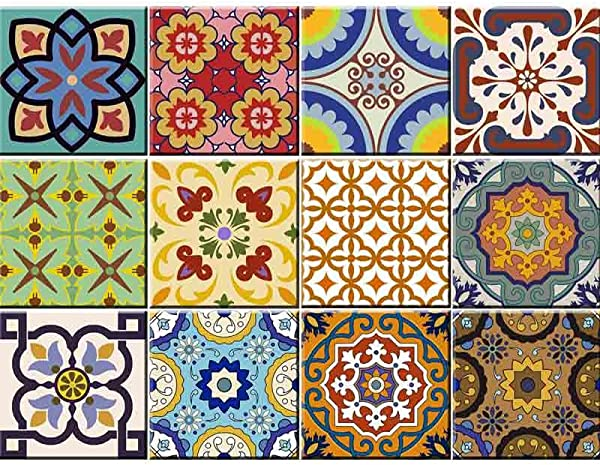 Tile Stickers 24 PC Set Traditional Talavera Tiles Stickers Bathroom Kitchen Tile Decals Easy To Apply Just Peel Stick Home Decor 6x6 Inch Kitchen Tiles Stickers C1