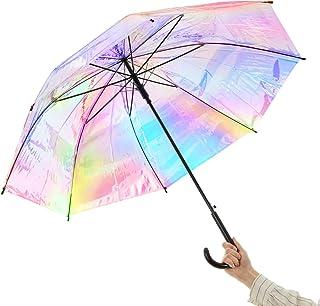 オーロラ 傘 レインボー 傘 レディース 長傘 ホログラム ワンタッチ かわいい シンデレラアンブレラ 8本 レインボー 虹色 雨傘 透明 (ブラック)