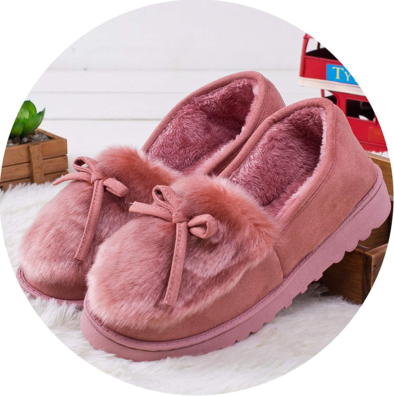 Winter Platform shoes Outdoor Home SlippersFur Slides House Sandals Fuzzy Slippers Loafers Bow