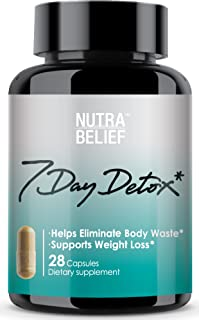 Nutrabelief Detox Cleanse Weight Loss - 7 Day Colon Cleanser - Eliminate Body Waste and Toxins - Energy Support - with Psyllium Husk and Senna - 28 Capsules