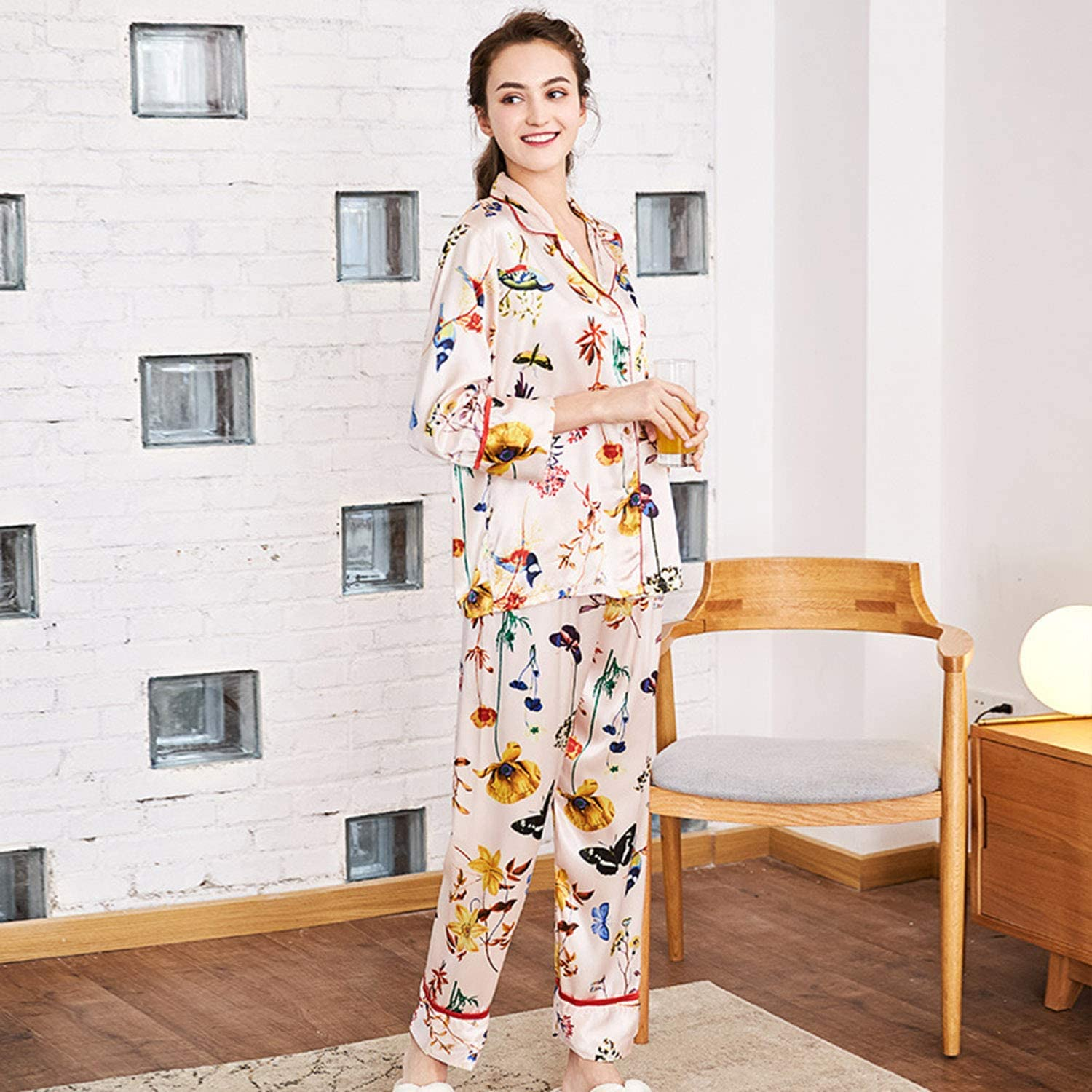Spinning Silk Pajamas Woman Long Sleeve Trousers Tracksuit TwoPiece Suit