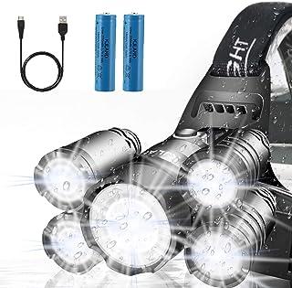 Headlamp, KJLAND 12000 Lumen Ultra Bright 5 LED Head light, USB Rechargeable Waterproof..