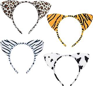 Serre-tête Animaux Mignon SEELOK 4 Pcs Carnaval Bandeau Animal Jungle Oreille Cheveux Femme Imprimé Oreilles de Tigre Vach...
