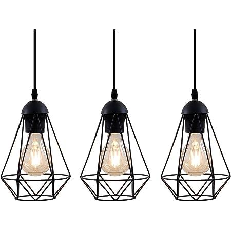 B.K.Licht Lampadario vintage, 3 punti luce, adatto per lampadine E27 non incluse max 40W, metallo nero, altezza totale 1,1m, lampada a sospensione per sala da pranzo, stile industriale IP20