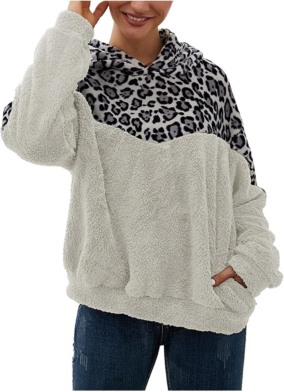 Womens Oversized Sherpa Hoodie Pullover Leopard Print with Pockets Fuzzy Fleece Sweatshirt Fluffy Coat Outwear