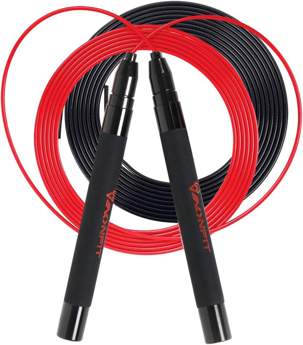 Free Carry Case /& Spare Screw Kit Adjustable Speed Jump Rope Anti-Slip Handl