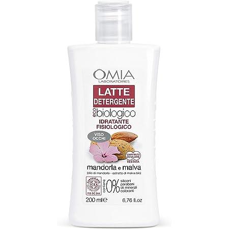 Omia, Latte Detergente Viso Eco Bio Mandorla e Malva, Struccante Fisiologico Viso e Occhi, per Pelli Normali, Secche e Sensibili - 200 ml