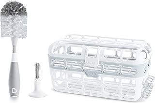 Munchkin Baby Bottle & Small Parts Cleaning Set, Includes High Capacity Dishwasher Basket & Bristle Bottle Brush, Grey