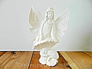 Fairy Sitting on Mushroom - Perfect for Fairy Garden - Ready to Paint (Unpainted) Ceramic Bisque by Gare - Handcrafted in The USA