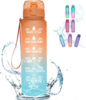 KEEPTO 32oz Water Bottle with Straw - Motivational Water Jugs with Time Marker & Removable Strainer, Fast Flow BPA Free Wa...