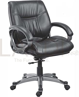 Lakdi-The Furniture Co. Black Leatherite Fully Cushioned Low Back Office Chair with Height and Tilt Mechanism Ideal for Office, Institution & Home