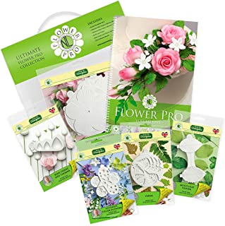 The Ultimate Flower Pro Collection Gift Pack Kit - 5 Silicone Molds and Tutorial Book - Nicholas Lodge Sugarcraft Cake Decorating Sugarpaste Filler Flowers, Food Safe