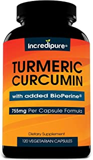 Turmeric Curcumin Supplement w/ BioPerine - 755mg Per Capsule, 120 Veggie Caps by Curcumin Incredipure
