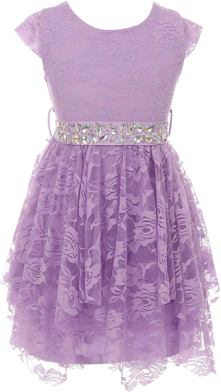 iGirlDress Floral Lace Cubic Belt Holiday Christmas Flower Girl Dress Size 2-14