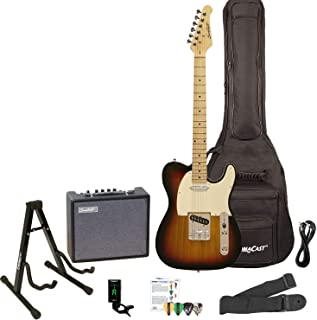 Best Sawtooth ET Series Electric Guitar Kit, Sunburst with Aged White Pickguard - Includes 10W Amp and ChromaCast Accessories Review