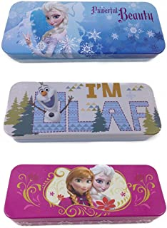 Disney Frozen Anna Elsa & Olaf Tin Pencil Cases Set of 3 Assorted