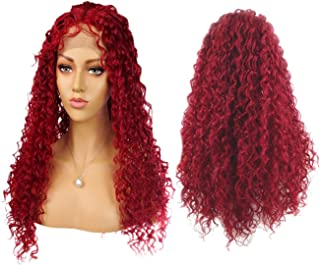 24 Inch Red Lace Front Deep Water Wave Curly Wig with Baby Hair