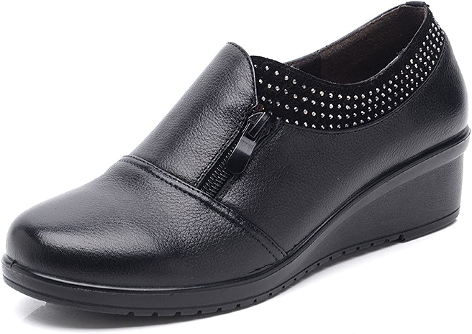 CYBLING Womens Loafers Nursing Comfort Leather Rhinestone Wear-Resistant Slip-ons with Zipper Retro Wedge Shoes for Moms