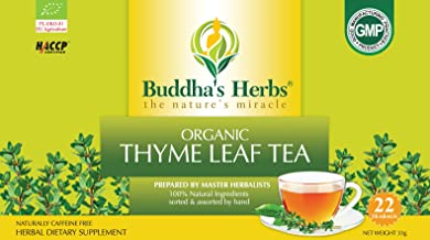 Buddha's Herbs Premium Organic Thyme Leaf Tea, 88 Tea Bags (Pack of 4)