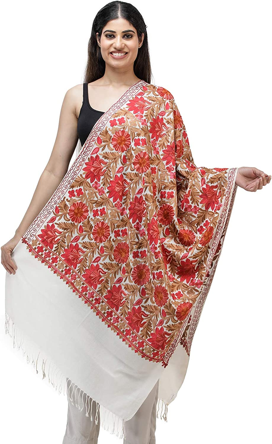 Exotic India Stole from Kashmir with Ari Embroidered Flowers All-Over