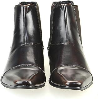 [エムエムワン] サイドゴアブーツ メンズ ショートブーツ ビジネスシューズ ロングノーズ ビジネスブーツ 紳士靴 春靴 【 MPB1901-7-CPZ 】 ブラック ブラウン