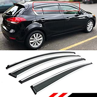 Cuztom Tuning Smoke Tinted Window Visor Rain Guard Deflector W/Chrome Trim & Clips Fits for 2015-2018 Kia Forte 5 Hatchback