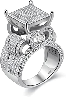 """Uloveido Womens 0.4"""" Wide Square Cluster Engagement Love Heart Architecture Ring Platinum Plated, Bridal Fashion Jewelry Stores (Size 6 7 8 9 10 11) RA0221"""