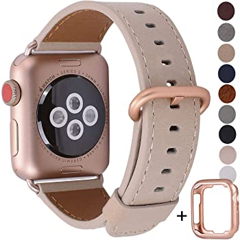 JSGJMY Compatible with Apple Watch Band 38mm 40mm 42mm 44mm Women Men Genuine Leather Replacement Strap for iWatch Series SE 6 5 4 3 2 1 (Light tan with Series 5/4/3 Rose Gold Clasp, 38mm/40mm S/M)
