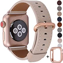 JSGJMY Compatible for Iwatch Band 38mm 40mm S/M Women Genuine Leather Loop Replacement Strap Compatible for iWatch Series 5 4 3 2 1, Light tan with Series 5/4/3 Rose Gold Clasp