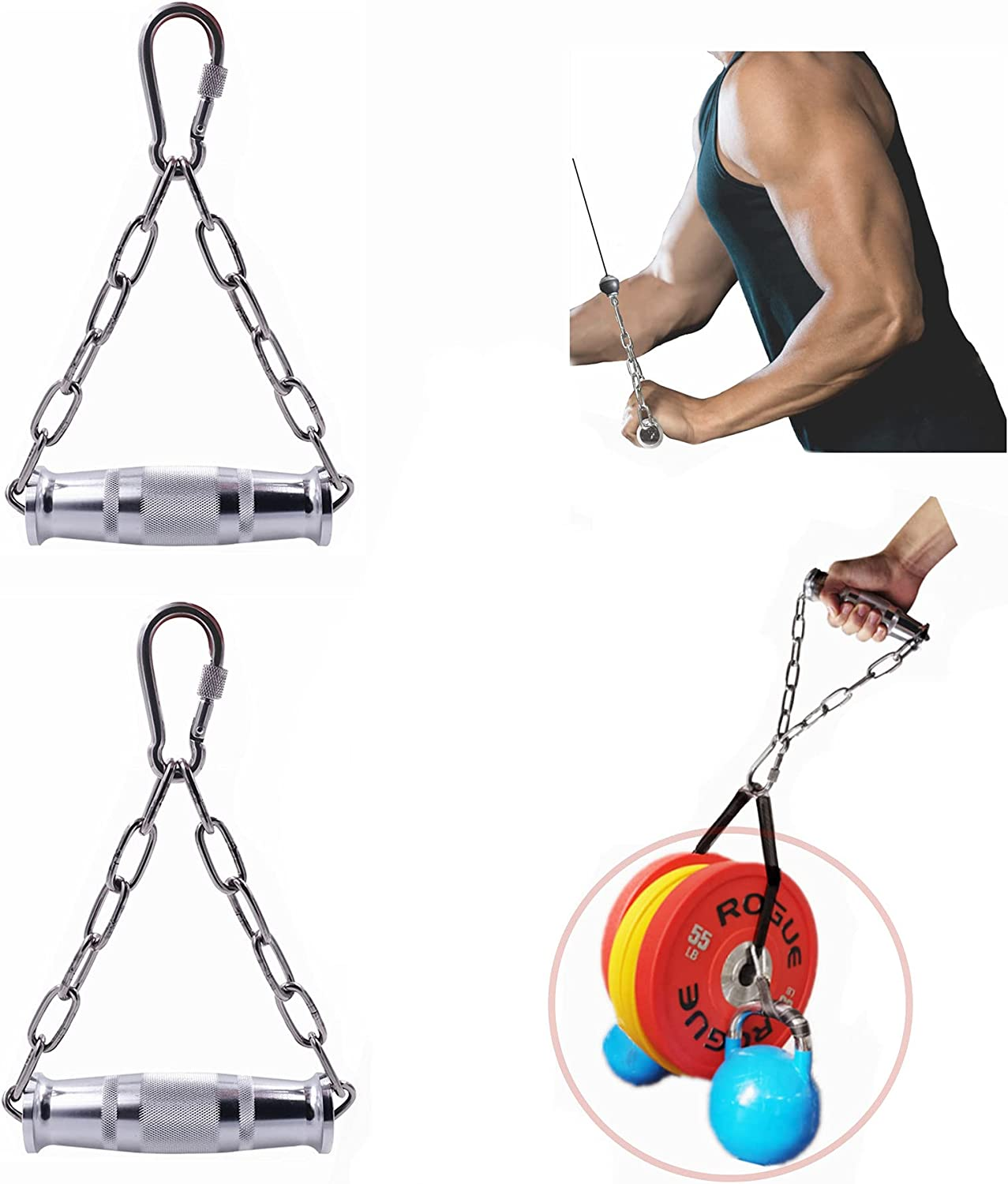 J Bryant Fitness Heavy Duty Metal Gym Handles with Stainless Steel Chain for Cable Machine Attachments Rotating Bar Home Gym Workout Accessories